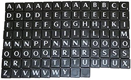 Nuevo Azulejos De Plástico Scrabble Cartas Plástico Negro & Letras ...