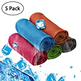 5 Packs Cooling Towel (40''x12''), Supper Absorbent and Fast Drying Breathable Fiber Material Ice Towel for Sports, Yoga, Fitness, Running, Camping & More Activities, Wear it as a Neck Wrap or Bandana