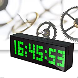 LambTown Electronic Alarm Clocks Big LED Countdown Timer with Temperature Calendar Display Wall Mount or Desk - Green