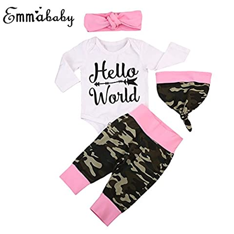 Newborn Unisex Baby Long Sleeve Romper Camouflage Pants with Headband Hat sets (0-6Months, Pink) - Girls In Camo