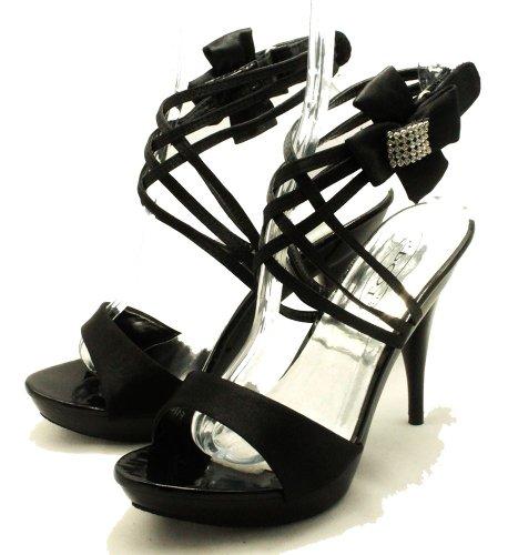 Zapatos del partido del partido del arco lateral de diamante negro de satén Black