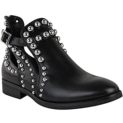 Fashion Thirsty Womens Flat Chelsea Ankle Boots Studded Embellished Cut Out Shoes Size 5