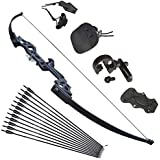 Tophunter Archery Recurve Youth Bow 18lbs 20lbs Traditional Longbow for Kids Boys Girls Pure Handmade Right or Left Hand Practice Target White