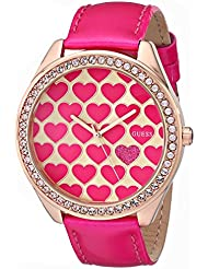 GUESS Womens U0535L1 Pink Heart Watch with Rose Gold-Tone Case & Genuine Patent Leather Strap