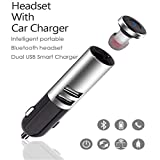 KUMEED 2 in 1 Car Charger with Mini Wireless Bluetooth Headset Earpiece Hands-Free for Phone iPad