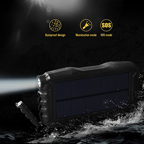 Soluser 25000mAh Portale Solar power Bank Shockproof Dustproof 21A USB outcomes Battery Bank Outdoor Solar Charger smartphone External Battery Chargers through tough LED light-weight for iPad iPhone Android cellphones Solar Chargers