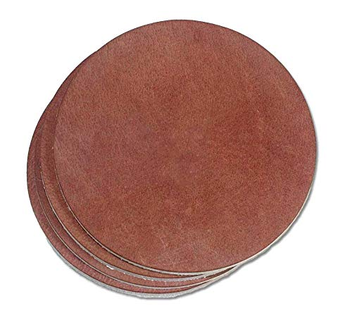 Full Grain Light Brown Round Leather Coaster 4-Pack - Made in the USA