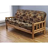 Somette Lodge Full-Size Futon Set with Mattress Tan, Brown, Blue, Green