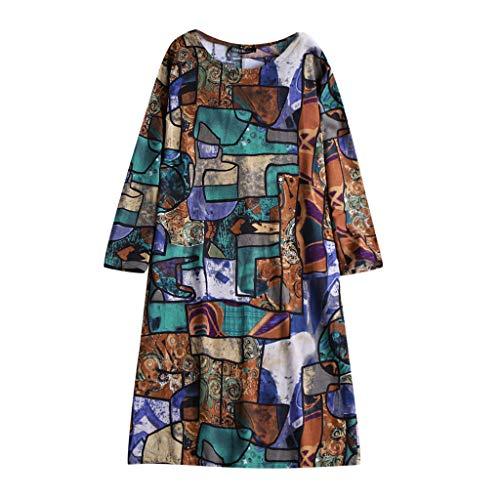Franterd women Summer Loose Dress Long Sleeve, Cotton Printed Dress]()