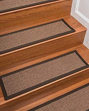 Natural Area Rugs 100% Natural Fiber Margot, Sisal Light Brown, Handmade Stair Treads Carpet Set of 13 (9'x29') Fudge Border Handmade Stair Treads Carpet Set of 13 (9x29) Fudge Border NaturalAreaRugs margot13