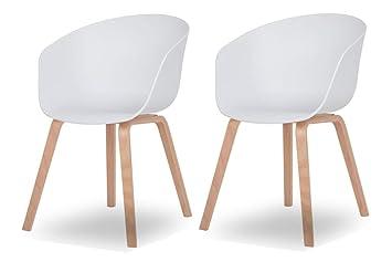 Esszimmer Stuhl Nordin 2er Set Schalenstuhl Mit Armlehnen Kunststoff Weiss Gestell Metall In Holz Optik Retro Design