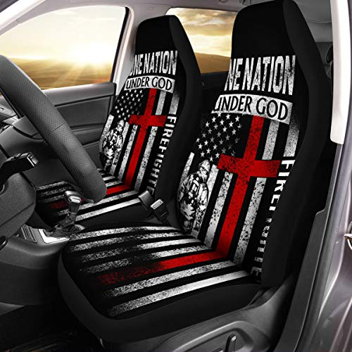 VTH Global Firefighting Gifts Firefighter USA Thin Red Line Support American Flag Car Seat Covers Set of 2 Size Universal Fit for Most Cars and SUV