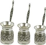 Heavy Duty Hand Made Engraved Copper Turkish Greek Arabic Armenian Coffee Pot SET - Stovetop Coffee Maker Cezve Ibrik Briki with Brass Handle - Small-5.1Oz/Medium-8.4Oz/Large-11.8Oz - (CPS-107)