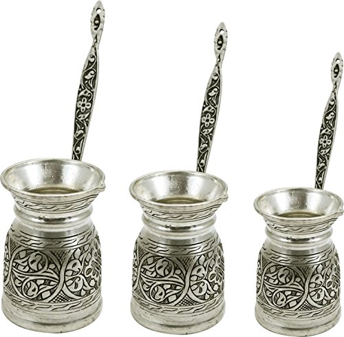 Heavy Duty Hand Made Engraved Copper Turkish Greek Arabic Armenian Coffee Pot SET - Stovetop Coffee Maker Cezve Ibrik Briki with Brass Handle - Small-5.1Oz/Medium-8.4Oz/Large-11.8Oz - (CPS-107) by Handcraftideas (Image #7)