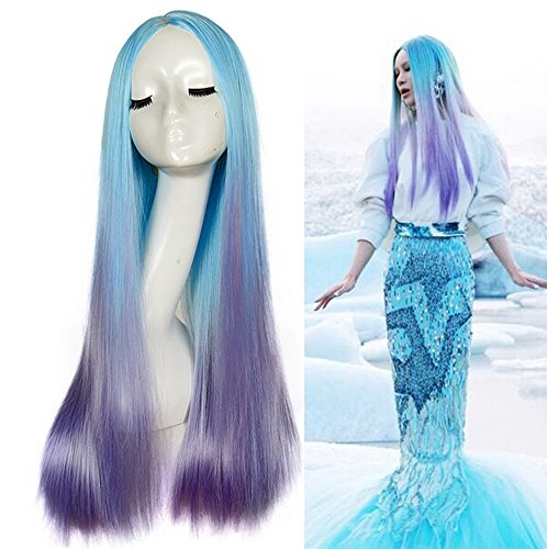 [SmartFactory Long Straight Light Blue to Purple Mermaid Human Hair Synthetic Fiber Wig For Mermaid] (Custom Inflatable Costumes)