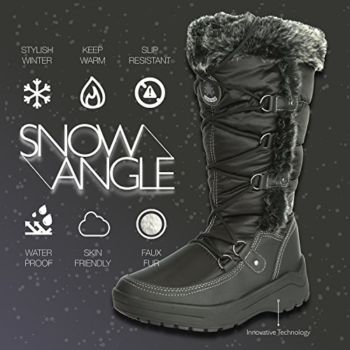 High up Water Resistant DailyShoes Fur Woman's Knee Warm Black Snow Warm Boots Eskimo Women's txI8q08wS