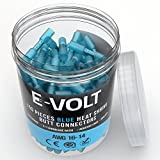 E-VOLT 150 PC Blue Heat Shrink Butt Crimp Connectors: 16 14 Gauge Bulk Waterproof Electrical Terminals - Insulated AWG Automotive, Marine, Audio, and Industrial Grade. Hot Melt Adhesive Butt Splice