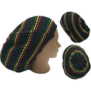 77c734deb Amazon.com: Black w/Red-Yellow-Green Stripes Rasta Dread Tam Cap Hat ...