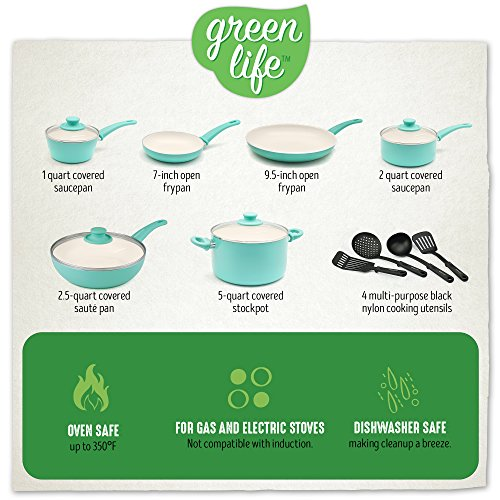 GreenLife CW000531-002 Soft Grip Absolutely Toxin-Free Healthy Ceramic Nonstick Dishwasher/Oven Safe Stay Cool Handle Cookware Set, 14-Piece, Turquoise by GreenLife (Image #2)