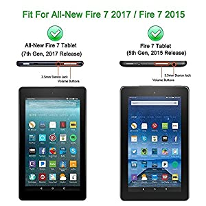 Fire 7 2017 Kids Case, Fire 7 2015 Kids Case - DiHines Light Weight Shock Proof Handle Friendly Stand Kid-Proof Case for All New Amazon Fire 7 inch Display Tablet Cover(2015&2017 Release) (Blue)
