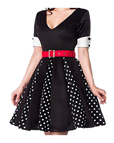 kurzen Kleid Manschetten mit Ausschnitt mit amp; Ärmeln V Godet Schwarz Kleid Weiß Retro AqR0fq