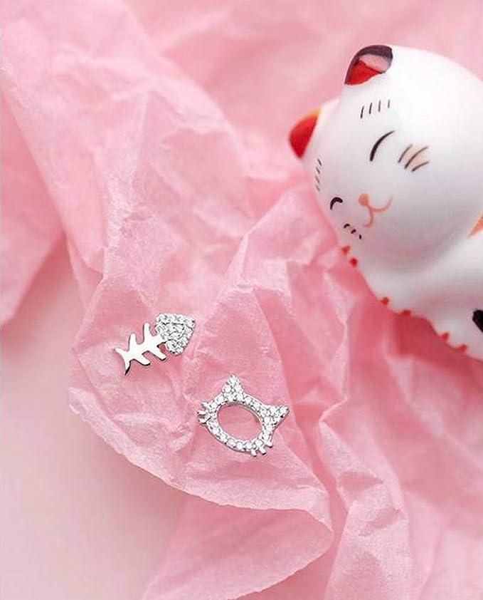 ca6b5cbdb604 Thumby S925 Pendientes de Plata con Diamantes Hello Kitty Aretes de Hueso  de Pez Asimétricos Oreja Joyería Femenina
