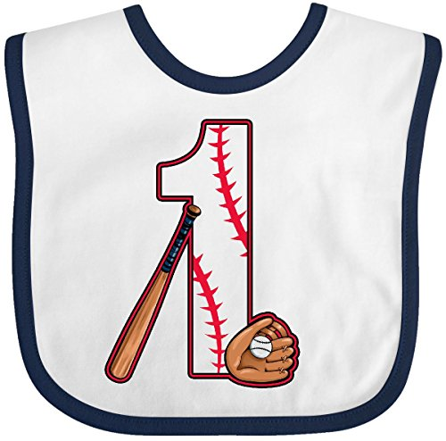 Inktastic - Baseball First Birthday- one year old Baby Bib White/Navy