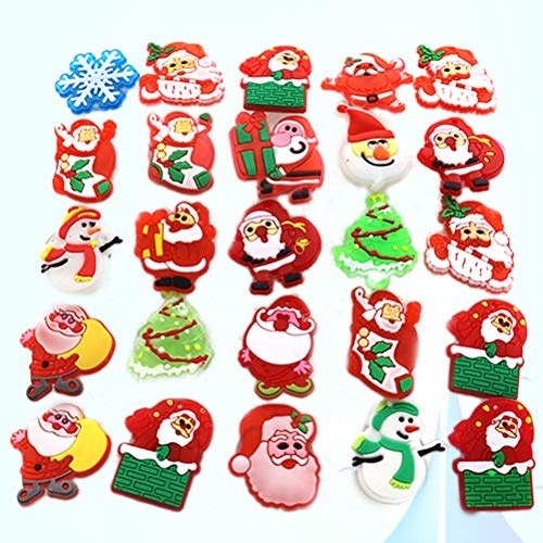 TOYMYTOY 50pcs Christmas Brooch Pins Set,LED Light Up Brooch Xmas Ornaments Gifts Pin Kids,Multi-Colored