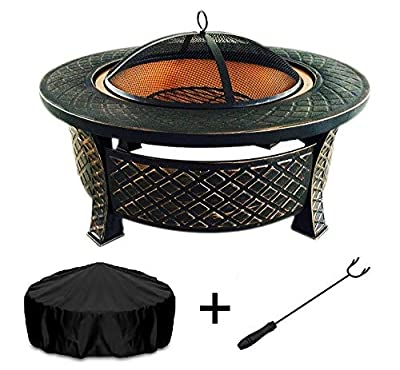 Metal Fire Pit Table; Wood Burning Outside Patio, Copper fire Pit Round Grill Cover Poker, Spartan Series Outside Iron Fire Pit Bowl, Outside fire pits, Tabletop, Portable, Backyard Decor