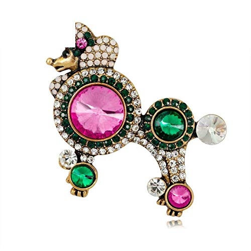(Christmas Gifts for Women Girl Gold Color Animal Brooch Pin Badge Emblem Corsage Pins Mujer Vintage Poodle Dog Brooches Crystal Rhinestone Jewelry)