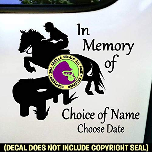 MEMORIAL CROSS COUNTRY Horse Rider ADD CUSTOM WORDS Vinyl Decal Sticker A