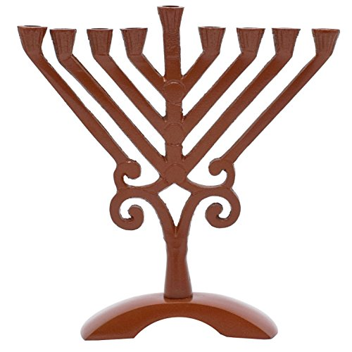 """Olive Branch Brown Glass (Bronze Triangle Candle Menorah - Fits all Standard Chanukah Candles - Classic V Branch Style - 6.5"""" High - by Ner Mitzvah)"""