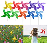 Tsocent 100 Pcs Pinwheels, 10 Mixed Colors Toy Wind Spinners and Party Favors Gifts for Kids, Outdoor Decorati