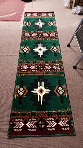 Southwest Native American Runner Area Rug Hunter Green Design C318 (2 Feet X 7 Feet ) from Concord Global Trading