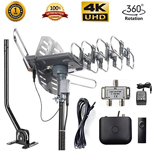 McDuory Amplified Outdoor Digital Antenna 150 Mile HDTV Antenna - 360 Degree Rotation with Infrared Control - High Performance in UHF/VHF- 40ft RG6 Cable/mounting pole/2-way Splitter Included (Best Digital Freeview Recorder)