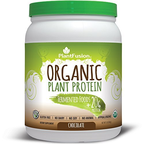 (PlantFusion Organic, 100% Plant Based Protein & Fermented Foods Powder, Chocolate, 15 servings, 20g Protein, 1lb Tub, No Soy or Rice by PlantFusion)