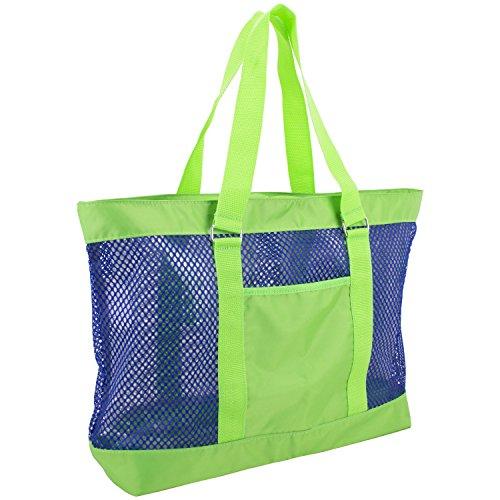 eastsport-mesh-tote-beach-bag-lime-green-blue