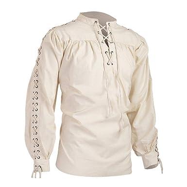 Puimentiua Camiseta con Cordones para Hombre Camisa de Manga Larga Blusa Pirata Medieval de Renacimiento de Halloween