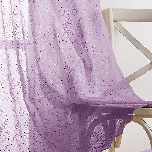 Purple Voile Curtain Panels for Girls Bedroom, Embroidered Scalloped Curtains with Gold Sequins, 95 Inches Long, Sold Individually