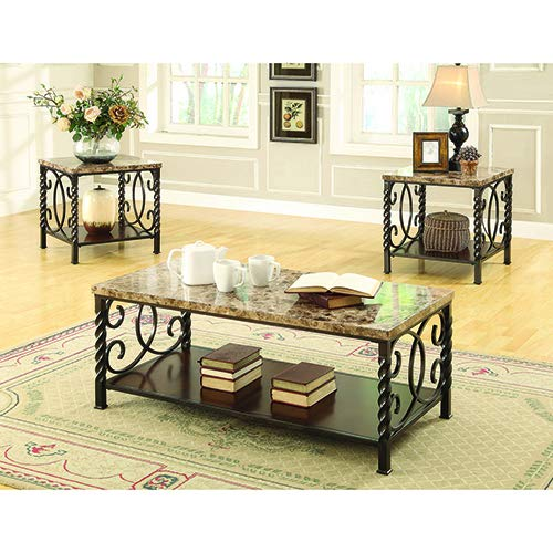 Lockhart 3-piece Occasional Set with Faux Marble Top Dark Brown by Coaster Home Furnishings