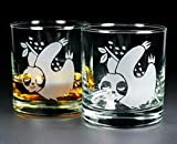 SLOTH Lowball Glasses set of 2 - Dishwasher-safe etched whiskey glass