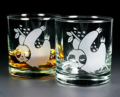 SLOTH Lowball Glasses set of 2 - Dishwasher-safe etched whiskey glass by Bread and Badger