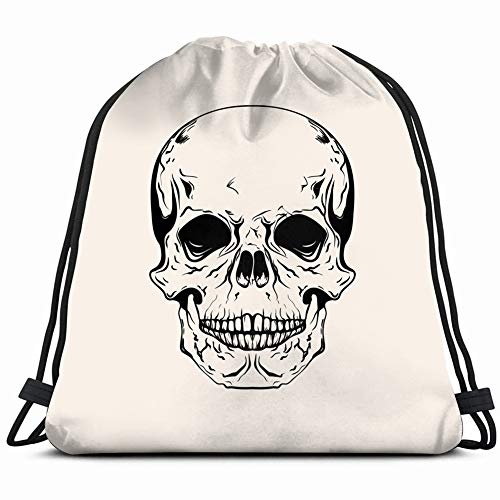 hand drawn sketch skull tattoo line vintage Drawstring Backpack Gym Sack Lightweight Bag Water Resistant Gym Backpack for Women&Men for Sports,Travelling,Hiking,Camping,Shopping Yoga ()