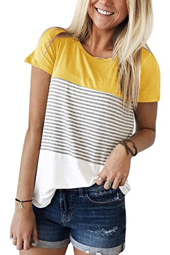 Price comparison product image VivilY Women's Tops Short Sleeve Round Neck Striped Color Block T-Shirts Casual Blouse