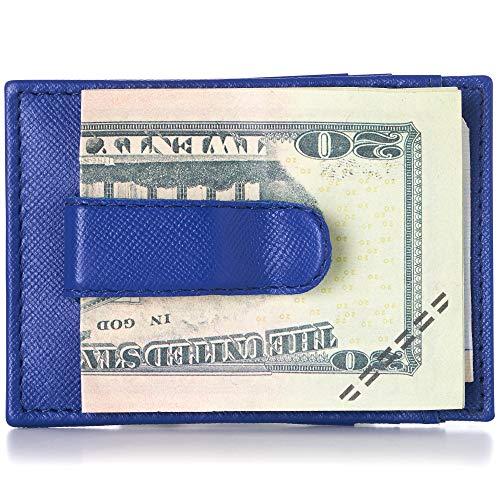 Alpine Swiss Mens Top Grain Leather Minimalist Money Clip Front Pocket Wallet Crosshatch Blue