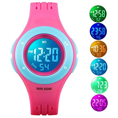 Kid Watch 50M Waterproof Sport LED Alarm Stopwatch Digital Child Quartz Wristwatch for Boy Girl Rose Blue