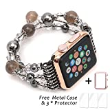 Apple Watch Band,Ezzdo Decorated Handmade Jewelry Faux Pearl Luxury Bracelet Elastic Stretch Replacement Strap + Rose Gold Frame for female Girl iWatch 38mm 42mm Series 1 2 (Jewelry Gray, 38mm)