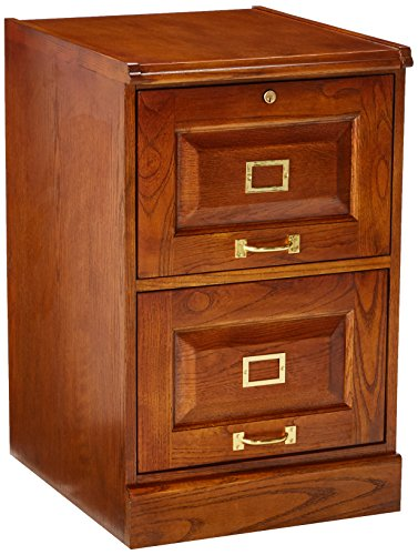 Coaster Home Furnishings  Modern Traditional Wood Two Drawer Vertical Letter Legal File Cabinet with Lock - Warm Honey - Honey Oak Dresser