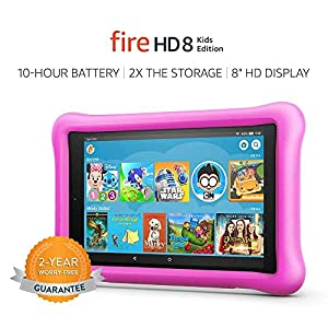 Fire HD 8 Kids Edition Tablet, 8″ HD Display, 32 GB, Pink Kid-Proof Case