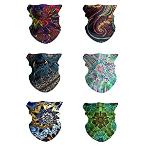 FEDDIY 6PCS Headwear for Men and Women, 16-in-1 Head Wrap, Neck Gaiter, Headband, Fishing Mask, Magic Scarf, Tube Mask…